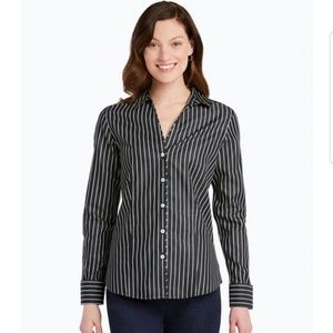 Foxcroft Lauren Stripe Sateen Shirt size 14